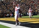 Nov 2, 2013; Iowa City, IA, USA;  Wisconsin Badgers running back James White (20) celebrates in the endzone after scoring a touchdown against the Iowa Hawkeyes at Kinnick Stadium.  Wisconsin beat Iowa 28-9.  Mandatory Credit: Reese Strickland-USA TODAY Sports
