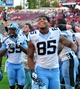 Nov 2, 2013; Raleigh, NC, USA;    North Carolina Tar Heels tight end Eric Ebron (85) and safety Damien Washington (35) celebrate a victory against the North Carolina State Wolfpackat Carter Finley Stadium.  North Carolina beat North Carolina State 27-19.  Mandatory Credit: Rob Kinnan-USA TODAY Sports