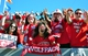 Nov 2, 2013; Raleigh, NC, USA; North Carolina State Wolfpack fans (from left to right) Anna Haywath, Dale Crawford, Kathryn Loyd, Anh Dinh, Yanon Gray, and Ben Bryant prepare for a game against the North Carolina Tar Heels at Carter Finley Stadium. Mandatory Credit: Rob Kinnan-USA TODAY Sports