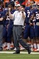 Nov 2, 2013; Syracuse, NY, USA; Syracuse Orange head coach Scott Shafer reacts to a play during the third quarter of a game against the Wake Forest Demon Deacons at the Carrier Dome. Syracuse won the game 13-0. Mandatory Credit: Mark Konezny-USA TODAY Sports
