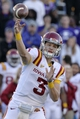 Nov 2, 2013; Manhattan, KS, USA; Iowa State Cyclones quarterback Grant Rohach (3) attempts a pass against the Kansas State Wildcats during the second half at Bill Snyder Family Stadium. The Wildcats defeat the Cyclones 41-7. Mandatory Credit: Jasen Vinlove-USA TODAY Sports