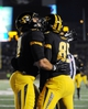 Nov 2, 2013; Columbia, MO, USA; Missouri Tigers wide receiver Marcus Lucas (85) is congratulated by tight end Eric Waters (81) after Lucas scored a touchdown during the first half of the game against the Tennessee Volunteers at Faurot Field. Mandatory Credit: Denny Medley-USA TODAY Sports