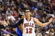 Nov 2, 2013; Philadelphia, PA, USA; Chicago Bulls guard Kirk Hinrich (12) questions a call during the fourth quarter against the Philadelphia 76ers at Wells Fargo Center. The Sixers defeated the Bulls 107-104. Mandatory Credit: Howard Smith-USA TODAY Sports