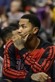 Nov 2, 2013; Philadelphia, PA, USA; Chicago Bulls guard Derrick Rose (1) watches from the bench during the fourth quarter against the Philadelphia 76ers at Wells Fargo Center. The Sixers defeated the Bulls 107-104. Mandatory Credit: Howard Smith-USA TODAY Sports