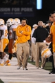 Nov 2, 2013; Columbia, MO, USA; Tennessee Volunteers head coach Butch Jones walks on the sidelines during the second half of the game against the Missouri Tigers at Faurot Field. Missouri won 31-3. Mandatory Credit: Denny Medley-USA TODAY Sports