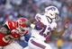 Nov 3, 2013; Orchard Park, NY, USA; Buffalo Bills wide receiver Steve Johnson (13) runs after a catch as Kansas City Chiefs inside linebacker Derrick Johnson (56) pursues during the second half at Ralph Wilson Stadium. Chiefs beat the Bills 23-13. Mandatory Credit: Kevin Hoffman-USA TODAY Sports