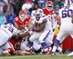 Nov 3, 2013; Orchard Park, NY, USA; Buffalo Bills fullback Frank Summers (38) runs with the ball against the Kansas City Chiefs during the second half at Ralph Wilson Stadium. Chiefs beat the Bills 23-13. Mandatory Credit: Kevin Hoffman-USA TODAY Sports
