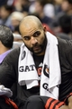 Nov 2, 2013; Philadelphia, PA, USA; Chicago Bulls forward Carlos Boozer (5) on the bench during the fourth quarter against the Philadelphia 76ers at Wells Fargo Center. The Sixers defeated the Bulls 107-104. Mandatory Credit: Howard Smith-USA TODAY Sports