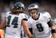 Nov 3, 2013; Oakland, CA, USA; Philadelphia Eagles quarterback Nick Foles (9) shakes hands with receiver Riley Cooper (14) after a touchdown in the third quarter against the Oakland Raiders at O.co Coliseum. The Eagles defeated the Raiders 49-20. Mandatory Credit: Kirby Lee-USA TODAY Sports