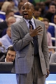 Nov 3, 2013; Orlando, FL, USA; Orlando Magic head coach Jacque Vaughn reacts against the Brooklyn Nets during the second half at Amway Center. Orlando Magic defeated the Brooklyn Nets 107-86. Mandatory Credit: Kim Klement-USA TODAY Sports