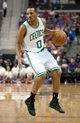 Nov 3, 2013; Auburn Hills, MI, USA; Boston Celtics point guard Avery Bradley (0) during the second quarter against the Detroit Pistons at The Palace of Auburn Hills. Mandatory Credit: Tim Fuller-USA TODAY Sports