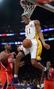 Nov 3, 2013; Los Angeles, CA, USA; Los Angeles Lakers shooting guard Wesley Johnson (11) during second half action against Atlanta Hawks at Staples Center. Mandatory Credit: Robert Hanashiro-USA TODAY Sports