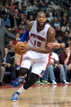 Oct 30, 2013; Auburn Hills, MI, USA; Detroit Pistons center Greg Monroe (10) drives to the basket during the fourth quarter against the Washington Wizards at The Palace of Auburn Hills. Pistons won 113-102. Mandatory Credit: Tim Fuller-USA TODAY Sports