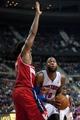 Oct 30, 2013; Auburn Hills, MI, USA; Washington Wizards center Nene (42) guards Detroit Pistons center Greg Monroe (10) during the fourth quarter at The Palace of Auburn Hills. Pistons won 113-102. Mandatory Credit: Tim Fuller-USA TODAY Sports