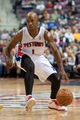 Oct 30, 2013; Auburn Hills, MI, USA; Detroit Pistons point guard Chauncey Billups (1) during the fourth quarter against the Washington Wizards at The Palace of Auburn Hills. Pistons won 113-102. Mandatory Credit: Tim Fuller-USA TODAY Sports