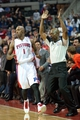 Oct 30, 2013; Auburn Hills, MI, USA; Detroit Pistons point guard Chauncey Billups (1) reacts after making a three pointer during the fourth quarter against the Washington Wizards at The Palace of Auburn Hills. Pistons won 113-102. Mandatory Credit: Tim Fuller-USA TODAY Sports