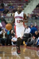 Oct 22, 2013; Auburn Hills, MI, USA; Detroit Pistons point guard Will Bynum (12) during the fourth quarter against the Washington Wizards at The Palace of Auburn Hills. Pistons won 99-96. Mandatory Credit: Tim Fuller-USA TODAY Sports