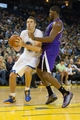 Nov 2, 2013; Oakland, CA, USA; Golden State Warriors power forward David Lee (10) looks to the basket against Sacramento Kings power forward Jason Thompson (34) during the fourth quarter at Oracle Arena. The Golden State Warriors defeated the Sacramento Kings 98-87. Mandatory Credit: Kelley L Cox-USA TODAY Sports