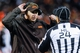 Nov 3, 2013; Cleveland, OH, USA; Cleveland Browns head coach Rob Chudzinski talks with head linesman Tom Stabile (24) at FirstEnergy Stadium. Mandatory Credit: Ken Blaze-USA TODAY Sports