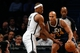 Nov 5, 2013; Brooklyn, NY, USA;   Brooklyn Nets small forward Paul Pierce (34) defends Utah Jazz small forward Richard Jefferson (24) during the first quarter at Barclays Center. Mandatory Credit: Anthony Gruppuso-USA TODAY Sports