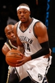Nov 5, 2013; Brooklyn, NY, USA;  Brooklyn Nets small forward Paul Pierce (34) advances the ball during the third quarter against the Utah Jazz at Barclays Center. Nets won 104-88.  Mandatory Credit: Anthony Gruppuso-USA TODAY Sports