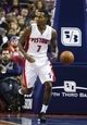 Nov 5, 2013; Auburn Hills, MI, USA; Detroit Pistons point guard Brandon Jennings (7) runs down the court during the third quarter against the Indiana Pacers at The Palace of Auburn Hills. The Pacers beat the Pistons 99-91. Mandatory Credit: Raj Mehta-USA TODAY Sports