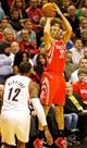 Nov 5, 2013; Portland, OR, USA; Houston Rockets shooting guard Francisco Garcia (32) shoots over Portland Trail Blazers power forward LaMarcus Aldridge (12) at the Moda Center. Mandatory Credit: Craig Mitchelldyer-USA TODAY Sports