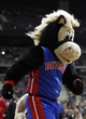 Nov 5, 2013; Auburn Hills, MI, USA; (Editor's Note: Caption Correction) Detroit Pistons mascot Hooper runs off the court after making a half court shot during the fourth quarter against the Indiana Pacers at The Palace of Auburn Hills. The Pacers beat the Pistons 99-91. Mandatory Credit: Raj Mehta-USA TODAY Sports