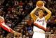 Nov 5, 2013; Portland, OR, USA; Portland Trail Blazers center Meyers Leonard (11) shoots against the Houston Rockets at the Moda Center. Mandatory Credit: Craig Mitchelldyer-USA TODAY Sports