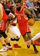 Nov 5, 2013; Portland, OR, USA; Houston Rockets shooting guard James Harden (13) drives past Portland Trail Blazers shooting guard Wesley Matthews (2) at the Moda Center. Mandatory Credit: Craig Mitchelldyer-USA TODAY Sports