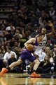 Nov 6, 2013; San Antonio, TX, USA; Phoenix Suns forward Miles Plumlee (left) drives to the basket while guarded by San Antonio Spurs forward Boris Diaw (right) during the first half at AT&T Center. Mandatory Credit: Soobum Im-USA TODAY Sports