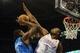Nov 6, 2013; Oklahoma City, OK, USA; Dallas Mavericks center Samuel Dalembert (1) attempts a shot against Oklahoma City Thunder power forward Serge Ibaka (9) during the second quarter at Chesapeake Energy Arena. Mandatory Credit: Mark D. Smith-USA TODAY Sports