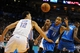 Nov 6, 2013; Oklahoma City, OK, USA; Dallas Mavericks shooting guard Monta Ellis (11) loses control of the ball while being guarded by Oklahoma City Thunder center Steven Adams (12) during the second quarter at Chesapeake Energy Arena. Mandatory Credit: Mark D. Smith-USA TODAY Sports