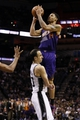 Nov 6, 2013; San Antonio, TX, USA; Phoenix Suns guard Gerald Green (14) commits an offensive foul against San Antonio Spurs guard Manu Ginobili (20) during the second half at AT&T Center. The Spurs won 99-96. Mandatory Credit: Soobum Im-USA TODAY Sports