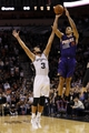 Nov 6, 2013; San Antonio, TX, USA; Phoenix Suns  guard Gerald Green (14) shoots against San Antonio Spurs forward Marco Belinelli (3) during the second half at AT&T Center. The Spurs won 99-96. Mandatory Credit: Soobum Im-USA TODAY Sports