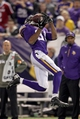 Nov 7, 2013; Minneapolis, MN, USA; Minnesota Vikings wide receiver Jerome Simpson (81) catches a pass during the fourth quarter against the Washington Redskins at Mall of America Field at H.H.H. Metrodome. The Vikings defeated the Redskins 34-27. Mandatory Credit: Brace Hemmelgarn-USA TODAY Sports