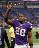 Nov 7, 2013; Minneapolis, MN, USA; Minnesota Vikings running back Adrian Peterson (28) acknowledges the crowd following the game against the Washington Redskins at Mall of America Field at H.H.H. Metrodome. The Vikings defeated the Redskins 34-27. Mandatory Credit: Brace Hemmelgarn-USA TODAY Sports