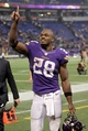 Nov 7, 2013; Minneapolis, MN, USA; Minnesota Vikings running back Adrian Peterson (28) smiles while acknowledging the crowd following the game against the Washington Redskins at Mall of America Field at H.H.H. Metrodome. The Vikings defeated the Redskins 34-27. Mandatory Credit: Brace Hemmelgarn-USA TODAY Sports