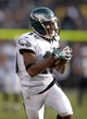Nov 3, 2013; Oakland, CA, USA; Philadelphia Eagles receiver DeSean Jackson (10) scores on a 46-yard touchdown reception in the third quarter against the Oakland Raiders at O.co Coliseum. The Eagles defeated the Raiders 49-20. Mandatory Credit: Kirby Lee-USA TODAY Sports