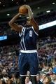 Nov 8, 2013; Auburn Hills, MI, USA; Oklahoma City Thunder power forward Serge Ibaka (9) shoots during the second quarter against the Detroit Pistons at The Palace of Auburn Hills. Mandatory Credit: Tim Fuller-USA TODAY Sports