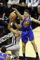 Nov 8, 2013; San Antonio, TX, USA; San Antonio Spurs guard Tony Parker (9) drives to the basket under pressure from Golden State Warriors guard Klay Thompson (11) during the first half at AT&T Center. Mandatory Credit: Soobum Im-USA TODAY Sports