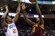 Nov 8, 2013; Philadelphia, PA, USA; Cleveland Cavaliers forward Tristan Thompson (13) shoots as Philadelphia 76ers forward Thaddeus Young (21) defends during the third quarter at Wells Fargo Center. The Sixers defeated the Cavaliers 94-79. Mandatory Credit: Howard Smith-USA TODAY Sports