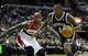 Nov 8, 2013; Washington, DC, USA; Brooklyn Nets center Andray Blatche (0) drives the lane past Washington Wizards power forward Al Harrington (7) during the second half at the Verizon Center. The Wizards defeated the Nets 112 - 108. Mandatory Credit: Brad Mills-USA TODAY Sports