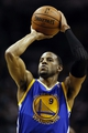 Nov 8, 2013; San Antonio, TX, USA; Golden State Warriors forward Andre Iguodala (9) shoots a free throw during the second half against the San Antonio Spurs at AT&T Center. The Spurs won 76-74. Mandatory Credit: Soobum Im-USA TODAY Sports