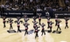 Nov 8, 2013; San Antonio, TX, USA; San Antonio Spurs cheerleaders perform during the first half against the Golden State Warriors at AT&T Center. Mandatory Credit: Soobum Im-USA TODAY Sports