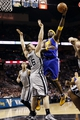 Nov 8, 2013; San Antonio, TX, USA; Golden State Warriors center Jermaine O'Neal (7) shoots against San Antonio Spurs forward Aron Baynes (16) during the second half at AT&T Center. The Spurs won 76-74. Mandatory Credit: Soobum Im-USA TODAY Sports