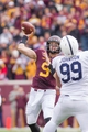 Nov 9, 2013; Minneapolis, MN, USA; Minnesota Gophers quarterback Philip Nelson (9) throws a pass in the second quarter against the Penn State Nittany Lions at TCF Bank Stadium. Mandatory Credit: Brad Rempel-USA TODAY Sports