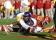 Nov 9, 2013; Ames, IA, USA; Texas Christian Horned Frogs quarterback Trevone Boykin (2) is tackled in the end zone by Iowa State Cyclones Jeremiah George (52) at Jack Trice Stadium.  Texas Christian beat Iowa State 21-17.  Mandatory Credit: Reese Strickland-USA TODAY Sports