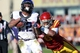 Nov 9, 2013; Ames, IA, USA; Texas Christian Horned Frogs running back Aaron Green (22) is tackled by Iowa State Cyclones safety Jacques Washington (5) at Jack Trice Stadium.  Texas Christian beat Iowa State 21-17.  Mandatory Credit: Reese Strickland-USA TODAY Sports