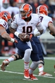 Nov 9, 2013; College Park, MD, USA; Syracuse Orange quarterback Terrel Hunt (10) turns for a hand off against the Maryland Terrapins at Byrd Stadium. Mandatory Credit: Mitch Stringer-USA TODAY Sports